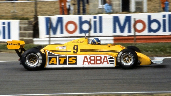 ‎Slim Borgudd, 1981 British GP Silverstone, ATS D5.  Note sponsorship from famous Swedish pop group.