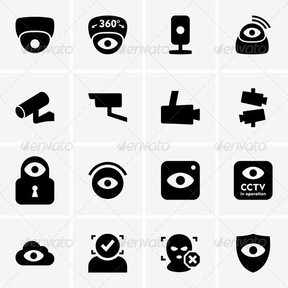 Video Surveillance Icons  #GraphicRiver         Set of video surveillance icons     Created: 10August13 GraphicsFilesIncluded: VectorEPS Layered: No MinimumAdobeCSVersion: CS Tags: alarm #camera #cctv #cloud #criminal #danger #design #detective #eye #graphic #icon #identity #ip #lock #monitoring #pictogram #police #private #protect #robbery #safe #safety #secure #set #silhouette #surveillance #theft #user #video #zone