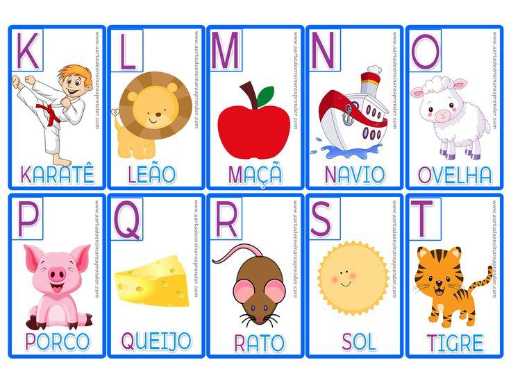Jogo pedagógico da memória com alfabeto ilustrado, com nomes dos desenhos e com destaque para a letra inicial de cada palavra.   Imprim...