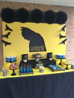 Batman birthday party dessert table! See more party planning ideas at CatchMyParty.com!