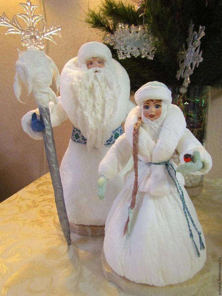 Купить Большой ватный Дед Мороз и Снегурочка под елку - белый, снегурочка, дед мороз