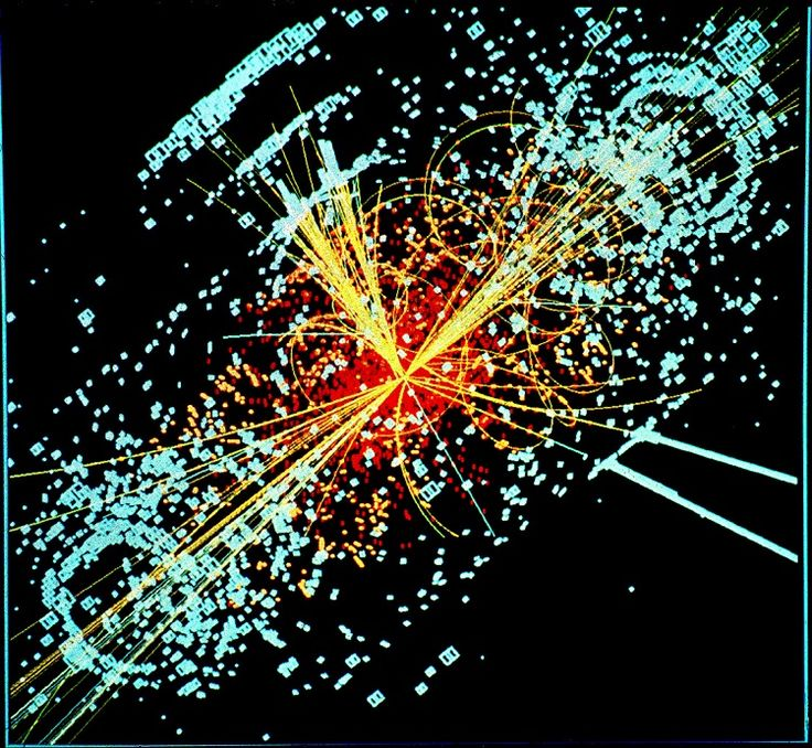 Simulated data from the Large Hadron Collider particle detector shows the Higgs boson produced after two protons collide.