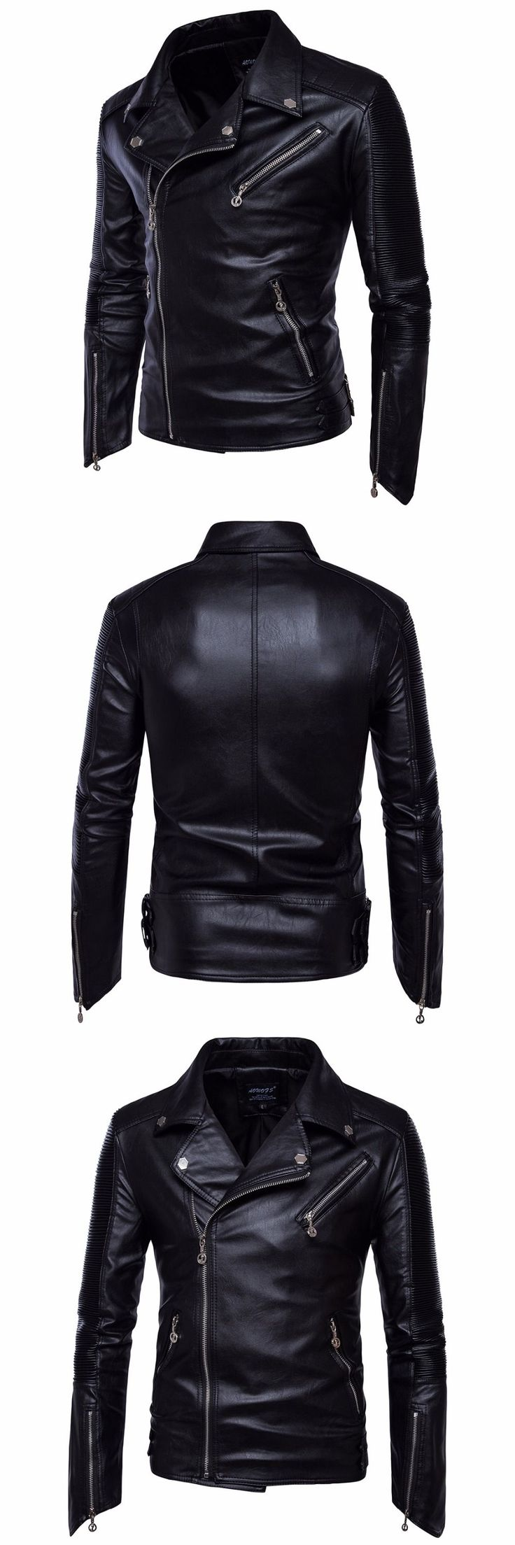 Men Classic Style Motorcycling Leather Jacket Mens Winter Slim Black PU Jackets Male Leather Jacket Clothing Fashion Coats
