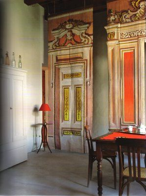 Trompe l'oeil hangings from the book French Style at Home by Sebastien Siraudeau.
