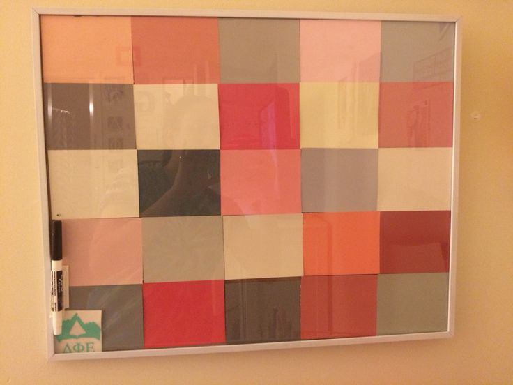 Homemade dry erase board - cheap poster frame and paint chips