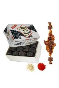 This Hamper Includes Imported Dates (Half Kg) with Rakhi and roli chawal.