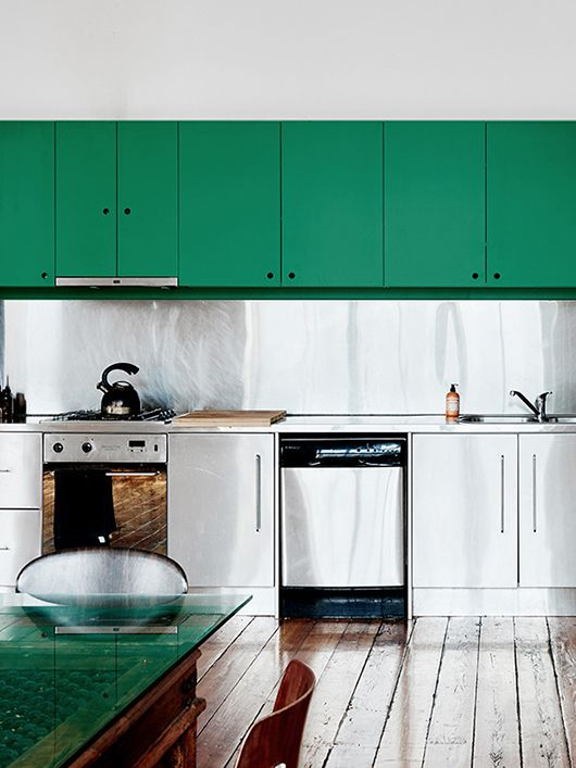 minimalist kitchen with green cabinets via lonny / sfgirlbybay
