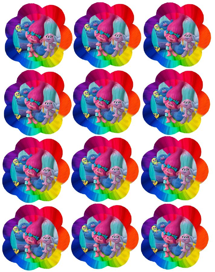 Trolls: Toppers para Cupcakes para Fiesta de Trolls para Imprimir Gratis.