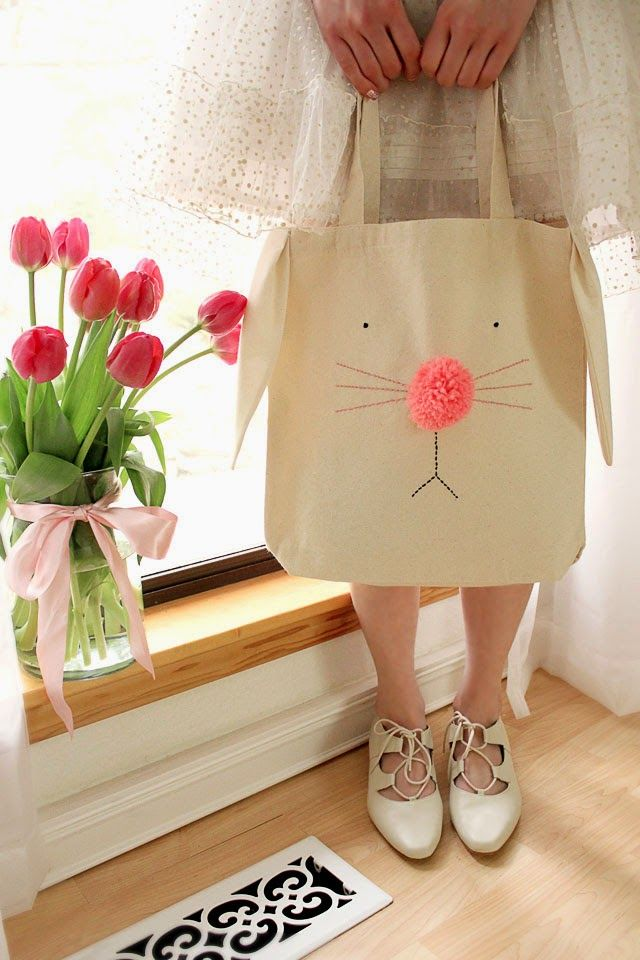 DIY Bunny Tote Bag :: try using fabric markers if you don't want to do the embroidery