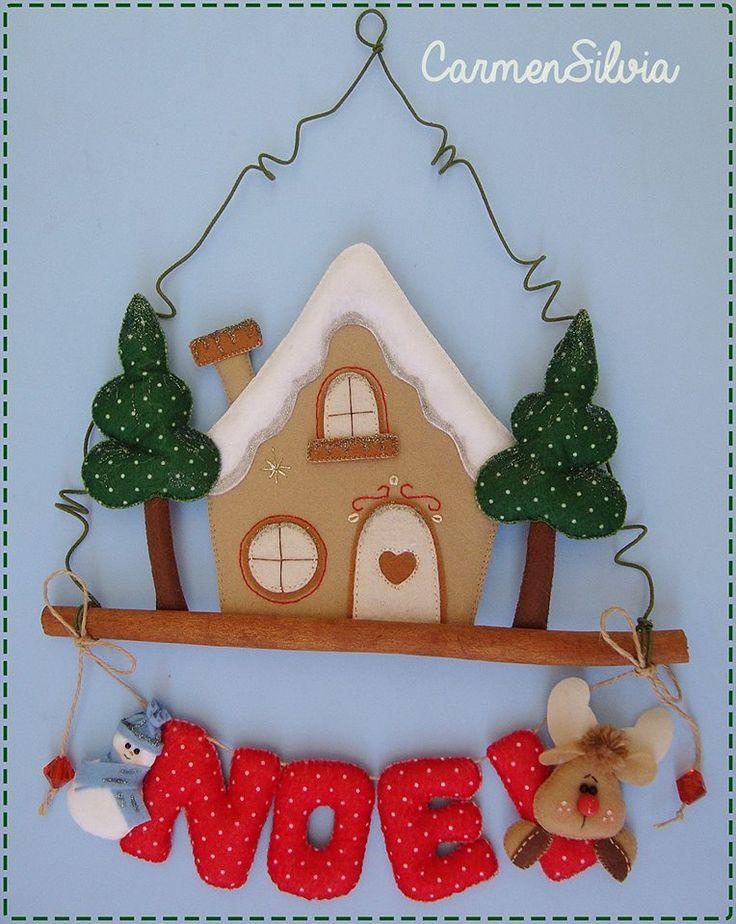 Lindo enfeite de porta em feltro; beautiful door adorno christmas felt