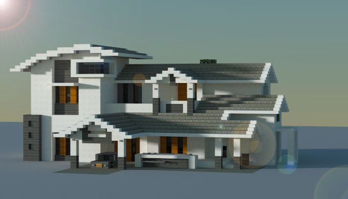 Modern style house made in minecraft casas minecraft for Modern house 6 part 8