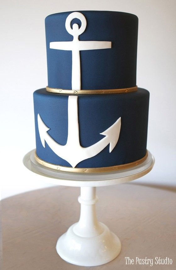 nautical theme cake rich navy fondant white anchor 2 tier design by the pastry studio