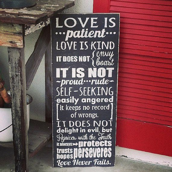 """Love is Patient, Love is Kind... - Distressed Wooden Sign 13"""" x 32"""" (1 Corinthians 13:4-8)"""