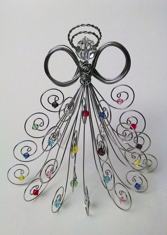 Special Edition: Silver tone wire angel, all Swarovski crystal beads, head and assorted color beads