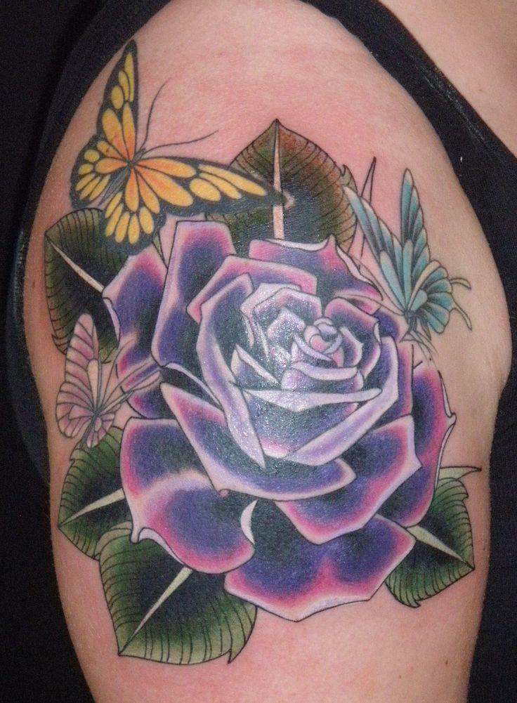 Purple And Black Rose Tattoos