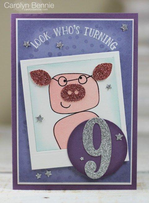 Playful Pals Piggy Birthday Card.  Carolyn Bennie - Independent Stampin' Up! Demonstrator in Australia carolynbennie.com