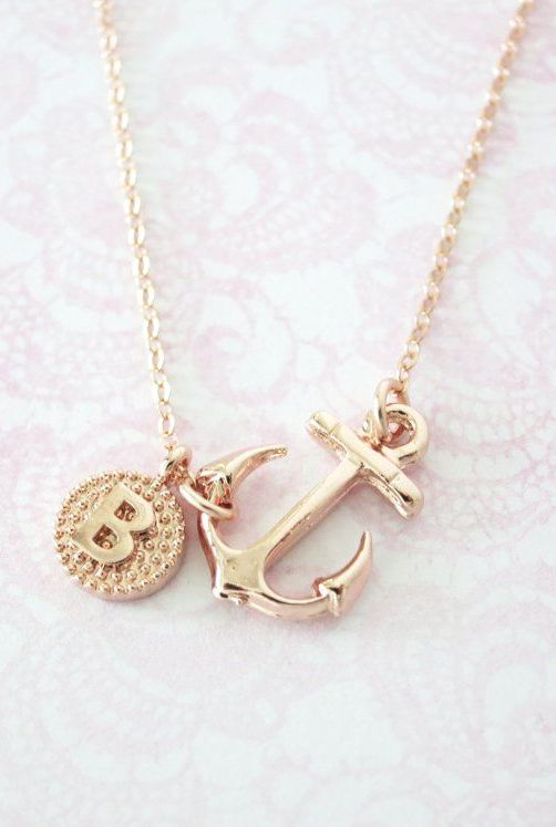 Personalized Anchor necklace simple rose gold