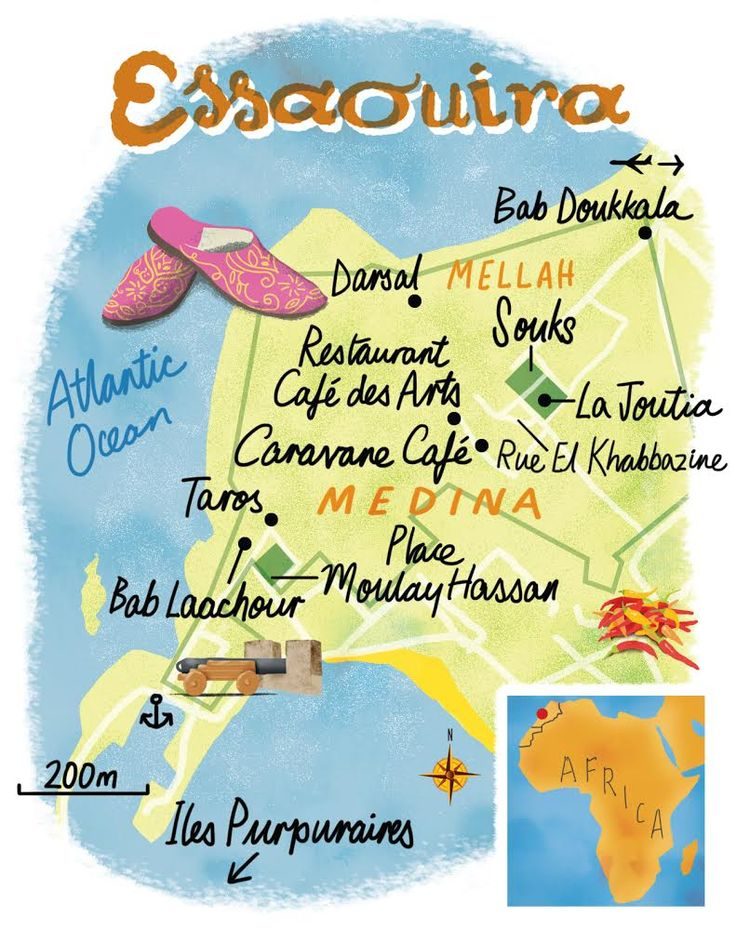 Essaouira map by Scott Jessop for the December 2014 issue of The Sunday Times Travel Magazine