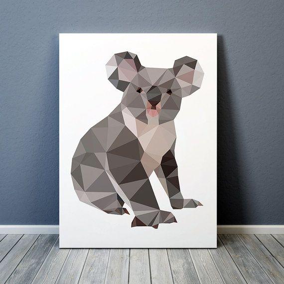 Animal poster Geometric Koala art Colorful decor by animalgeometry