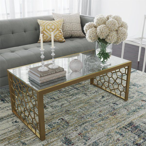 Cosmoliving By Cosmopolitan Juliette Sled Coffee Table Wayfair Coffee Table Table Decor Living Room Glass Coffee Table Decor