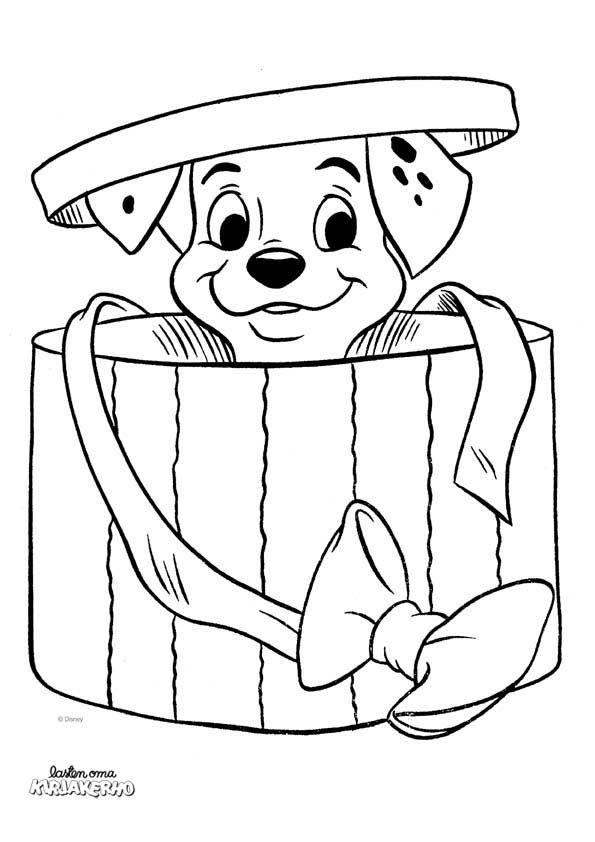 101 dalmatialaista -värityskuva. Lasten Oman Kirjakerhon tulostettavat värityskuvat. Free printable pattern. lasten   askartelu   käsityöt   värittäminen   DIY ideas   kid crafts   colouring