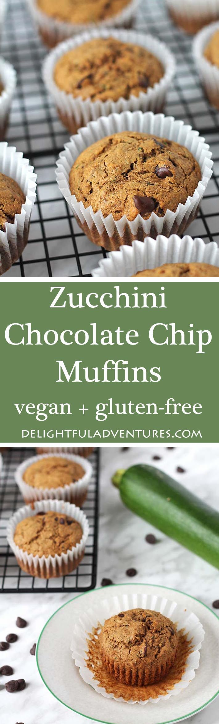 These delicious and easy-to-make vegan gluten free zucchini chocolate chip muffins are perfect for school snacks or for snacking on at home! via @delighfuladv