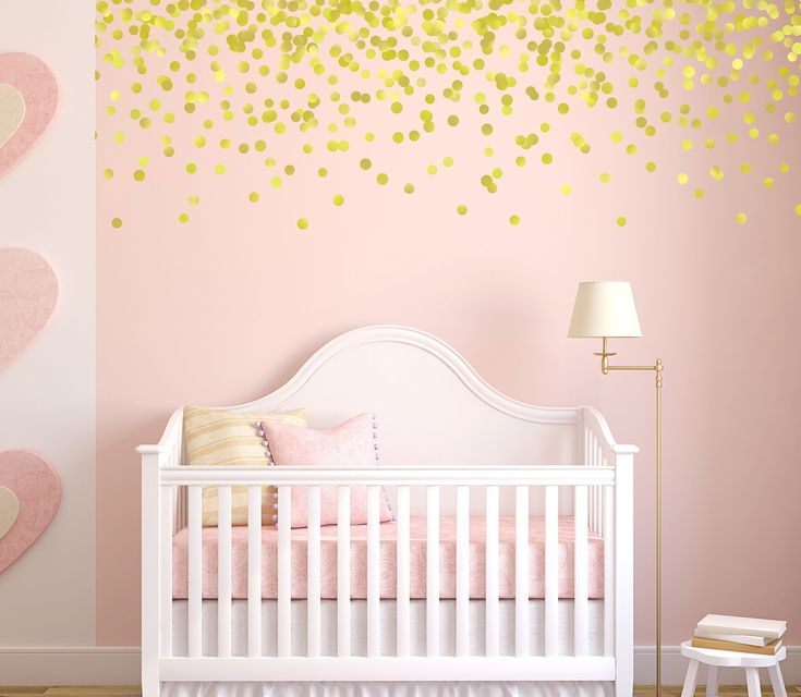 Gold Polka Dot Wall Decals, Pink and Gold Nursery, Gold Decals, Vinyl Stars, Wall Stickers, Baby Nursery Wall Stickers. These metallic Gold polka dots for your babys nursery are sure to be a hit. You can use them on the walls or the ceiling- and they're even removable for future use! We can make stars in your choice of color, however we only offer silver and gold in metallic. We recommend 150-200 polka dots for the effect shown in the photo. We offer smaller polka dot packs for your...