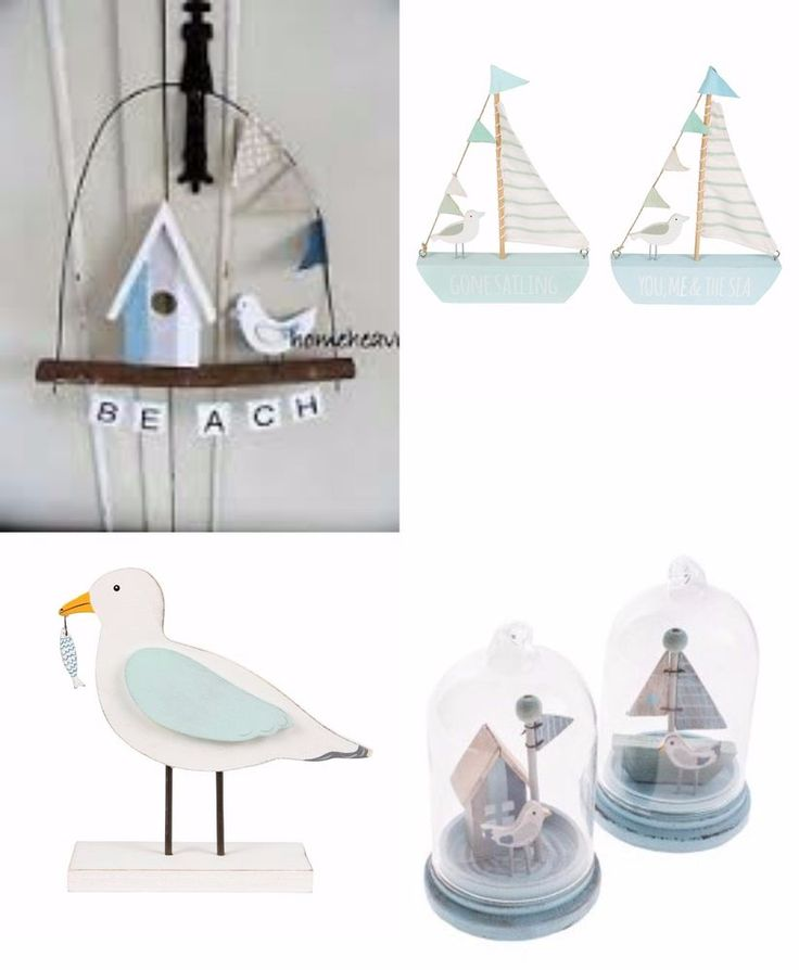 bathroom ornaments nautical sail boat seagull bird beach hut blue