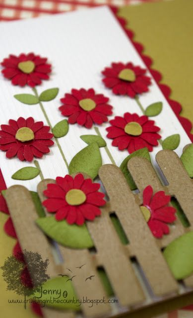 floral card with fence - Love this!Wood Fence, Fence Cards, Cards Ideas, Cute Cards, Birthday Time, Picket Fence, Greeting Card, Flower Cards, Floral Cards