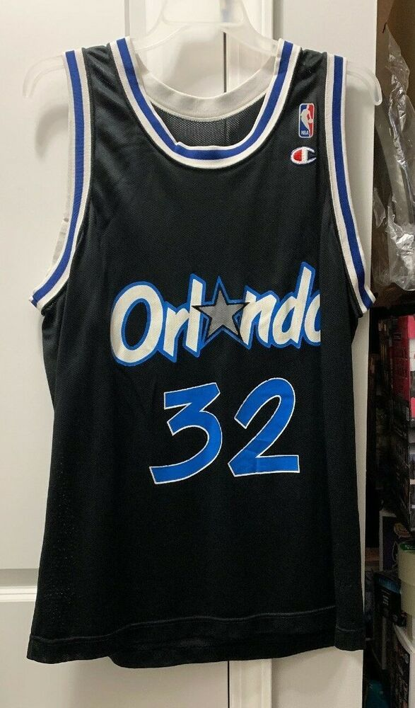 0302a3548 1990 S ORLANDO MAGIC SHAQUILLE O NEAL   32 NBA JERSEY VINTAGE CHAMPION  Black  Champion  OrlandoMagic