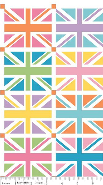 Union Jack DC570 Orange Squares Panel by Riley Blake from The Quilted Castle