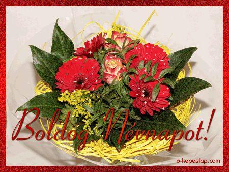 Asztali virág dísz képeslap névnapra, csillogó virággal és kerettel.