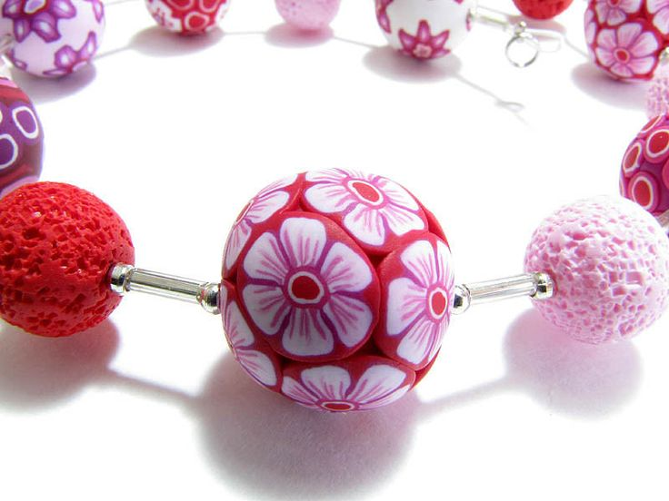 polymer clay beads necklace, Kette  Erdbeer Fimoperlen handmade, flower beads, Fimo, Premo, Halskette, Ring, earring