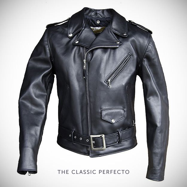 The Classic Schott Perfecto motorcycle jacket. Worn by Marlon Brando in the 1953 film The Wild One, worn by Bruce Springsteen for the past 40 years, and worn by The Ramones at the height of their fame.