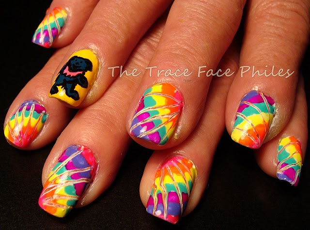 tie dye nails party was fun and it works with a small pointy object to do this