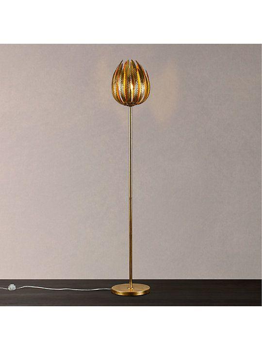 99e8dea5b815 John Lewis & Partners Montserrat Leaf Floor Lamp, Gold | hen and ...