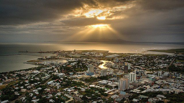View From Top Of Castle Hill In Townsville at Sunrise.