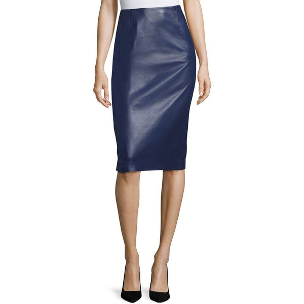 Carolina Herrera Leather Pencil Skirt ($1,690) ❤ liked on Polyvore featuring skirts, navy, navy skirts, straight skirts, navy pencil skirt, navy leather skirt and navy blue pencil skirts