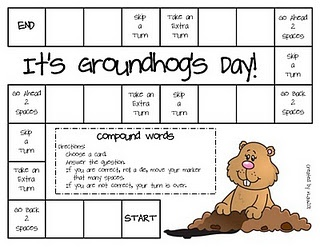 practicing compound words board game for Groundhog's Day -  Pinned by @PediaStaff – Please Visit http://ht.ly/63sNt for all our pediatric therapy pins