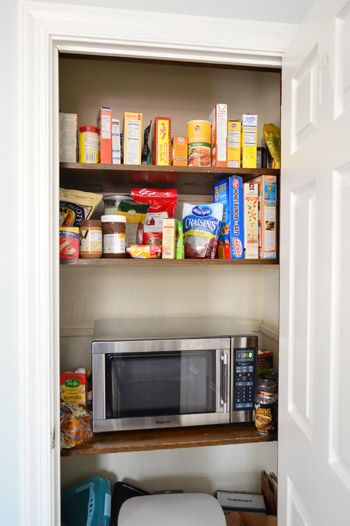 There's A Party In My Pantry-- microwave in pantry