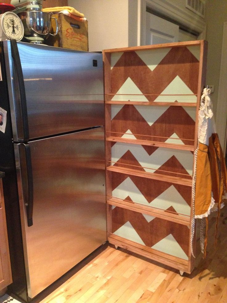 Great idea for everything food wise you would put in a pantry, and you could use the real pantry (if you have one) for kitchen appliances (kitchen aid mixer, crockpot, etc.), large dish ware, or make it a bar!! . . . . Rolling Fridge Shelf DIY