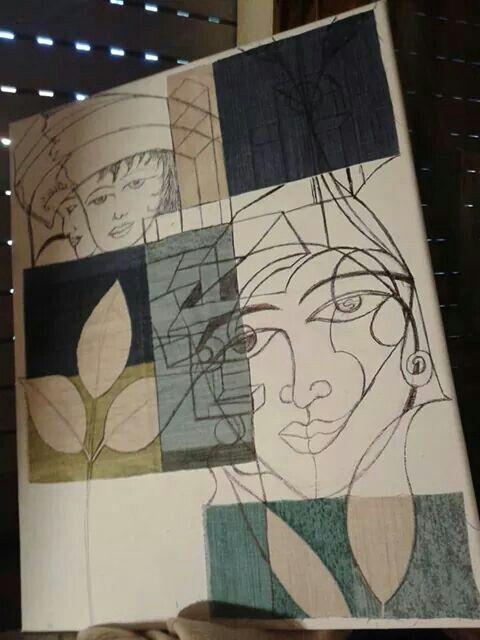 Riciclo ritagli di tessuto incollati su tela poi disegnata a penna-biro nera (poi vorrò colorare con colori ad olio)