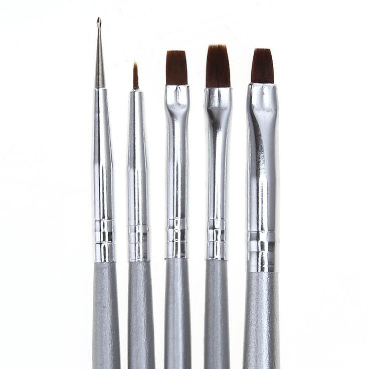 Best Deal New Pro  5pcs/set UV Gel Acrylic Nail Art Brush Drawing Dotting Drill Pen Builder Painting Pen Design Nail Art Tools