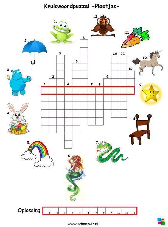 Kruiswoordpuzzel plaatjes  #puzzels #kruiswoordpuzzels #kinderpuzzels #plaatjes #schoolwiz #schoolwiz.nl::