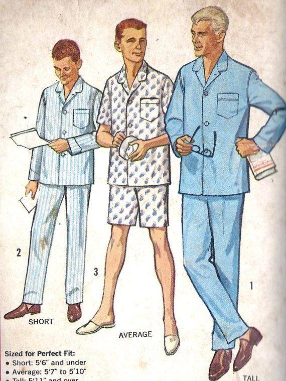 1950s Men's Pajamas Vintage Sewing Pattern by MissBettysAttic, $10.00