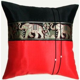 Silk Cushion Covers - Large Thai Elephant Design : Black and Red