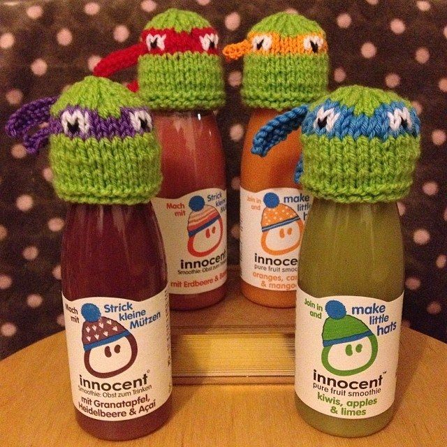 Innocent smoothies- Teenage Mutant Ninja Turtle knitted hats