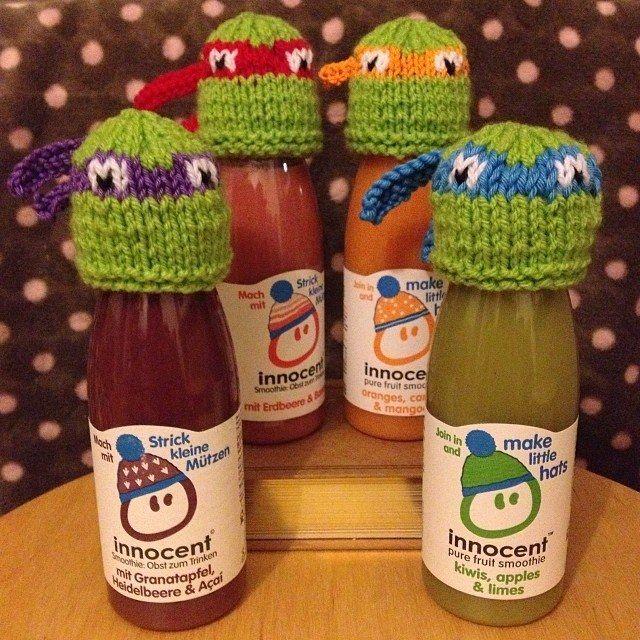 Innocent smoothies- Teenage Mutant Ninja Turtle knitted hats