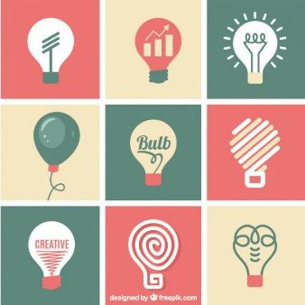 Cute and flat lightbulbs icons