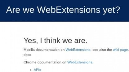 Firefox :Der Fortschritt an der Arbeit der Webextensions kann auf einer speziellen Seite verfolgt werden.
